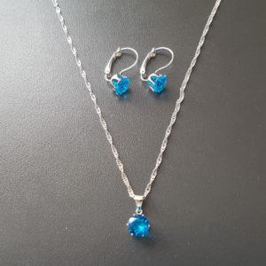 Elegantný strieborný set s modrým zirkónom