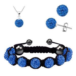Shamballa modrý set náramok, náušnice a retiazka