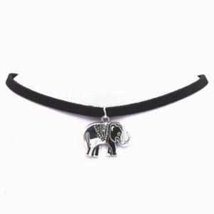 Semišový chocker s retro príveskom slona