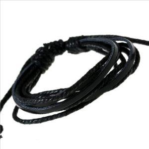 Viacvrstvový kožený čierny náramok