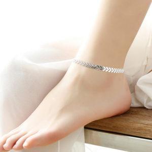 Strieborná retiazka na nohu