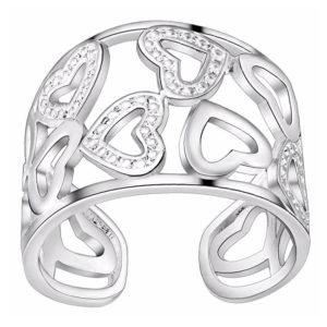 Strieborný prsteň so srdiečkami