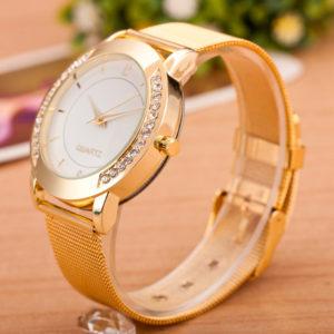 Dámske zlaté hodinky s kryštálikmi