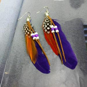 Pierkové fialové náušnice s korálkami
