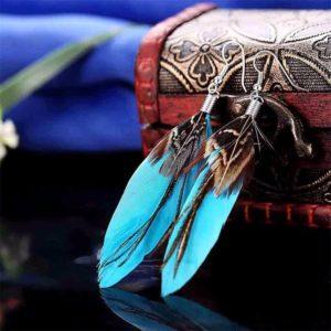 Pierkové indiánske modré náušnice