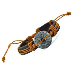 Retro Kožený náramok s egyptským motívom