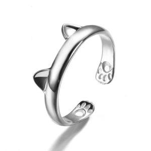 Strieborný prsteň s motívom mačky