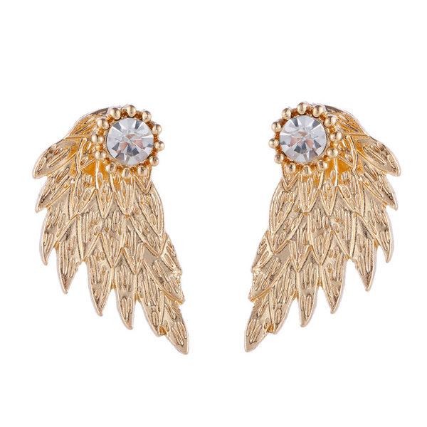 Zlaté náušnice v tvare krídla s kryštálom