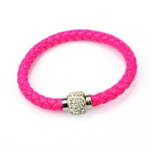 Magnetický ružový kožený náramok s kryštálmi
