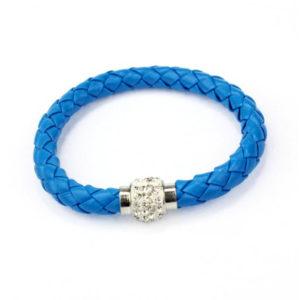Magnetický modrý kožený náramok s kryštálmi