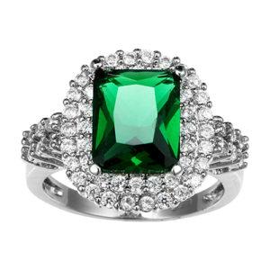 Strieborná prsteň so zeleným zirkónom