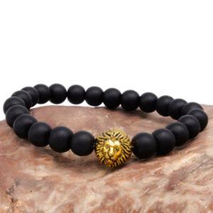 Náramok s čierneho kameňa zlatým levom