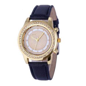 Dámske hodinky s kruhovým ciferníkom a kryštálikmi