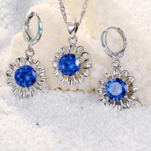 Strieborný set retiazka, prívesok, náušnice s modrým zirkónom