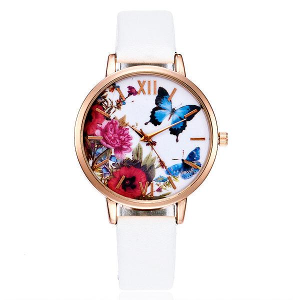 Biele hodinky s motýľom a kvetmi