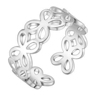 Strieborný prsteň s kvetinkami