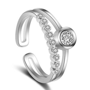 Dvojitý strieborný prsteň s kubickými zirkónmi