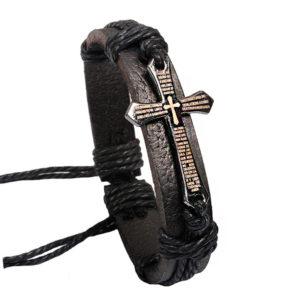 Kožený čierny náramok s modlitbou v krížiku