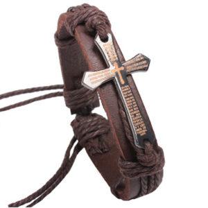 Kožený hnedý náramok s modlitbou v krížiku