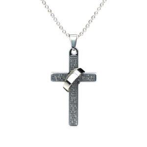 Krížik s krúžkom a modlitbou - strieborný