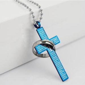 Krížik s krúžkom a modlitbou - modrý