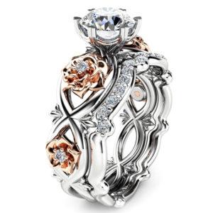 Dvojitý prsteň s ružovými kvetmi a zirkónmi