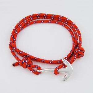Lankový červený náramok s kotvou