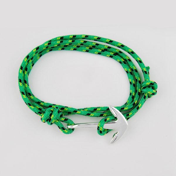 Lankový zelený náramok s kotvou