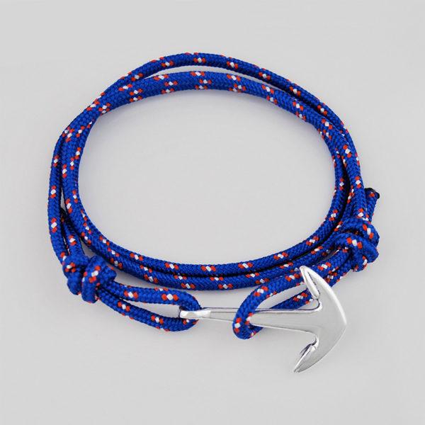 Lankový modrý náramok s kotvou