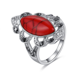 Elegantný prsteň s červeným prírodným kameňom