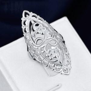 Veľký ornamentový strieborný prsteň