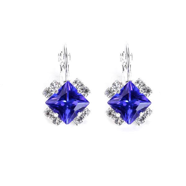 Strieborné náušnice so štvorcovým modrým kryštálom