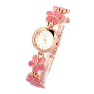 Dámske hodinky s ružovými kvetmi