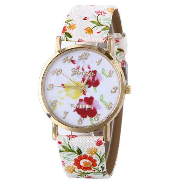 Farebné kvietkované hodinky