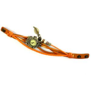 Hodinky na viacvrstvovom retro náramku - oranžové
