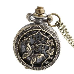Retiazkové starožitné otváracie hodinky s motýľom