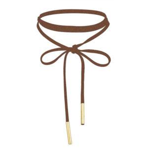 Dlhý Choker náhrdelník – hnedá koža