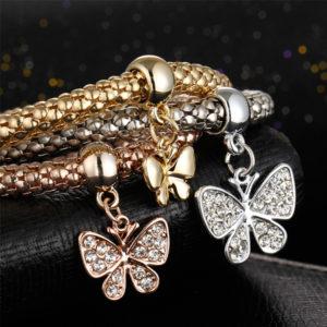 Trojitý náramok s motílikmi
