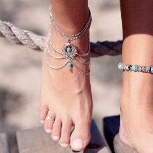 Viacvrstvová retiazka na nohu s tyrkysmi