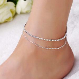Elegantná dvojitá retiazka na nohu s kryštálikmi