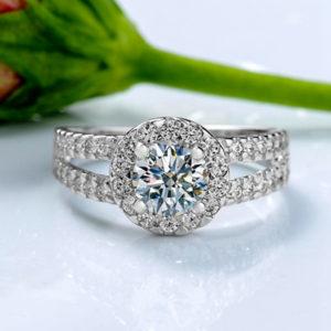 Elegantný romantický prsteň s veľkým kryštálom veľkosť 8