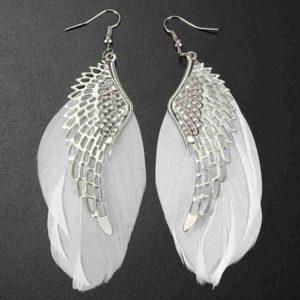 Náušnice anjelské krídla biele pierka