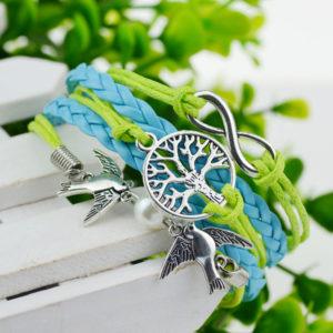 Zeleno-modrý náramok s holubicami