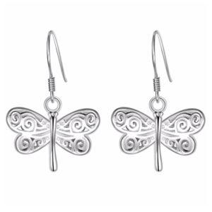 Strieborné náušnice s visiacimi motýlikmi