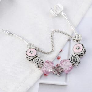 Strieborno-ružový náramok s kvietkami