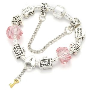 Strieborno-ružový náramok s kľúčikom a zámkom