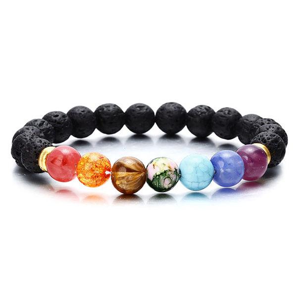 Náramok s prírodným kameňom čierna Láva a s farebnými korálkami