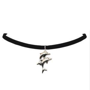 Čierny choker s dvoma delfínmi