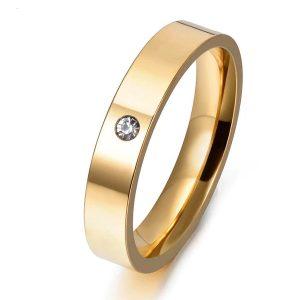 Zlatý prsteň z nehrdzavejúcej ocele so zirkónom