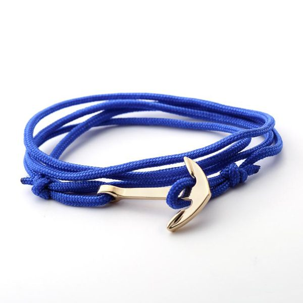 Lankový modrý náramok so zlatou kotvou